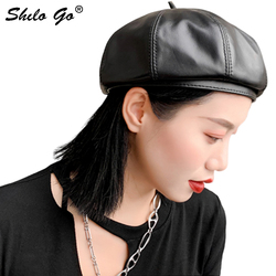 Genuine Leather Berets Highstreet Solid Sheepskin Beret French Artist Black Warm Beanie Hat Women Winter Autumn Berets Female
