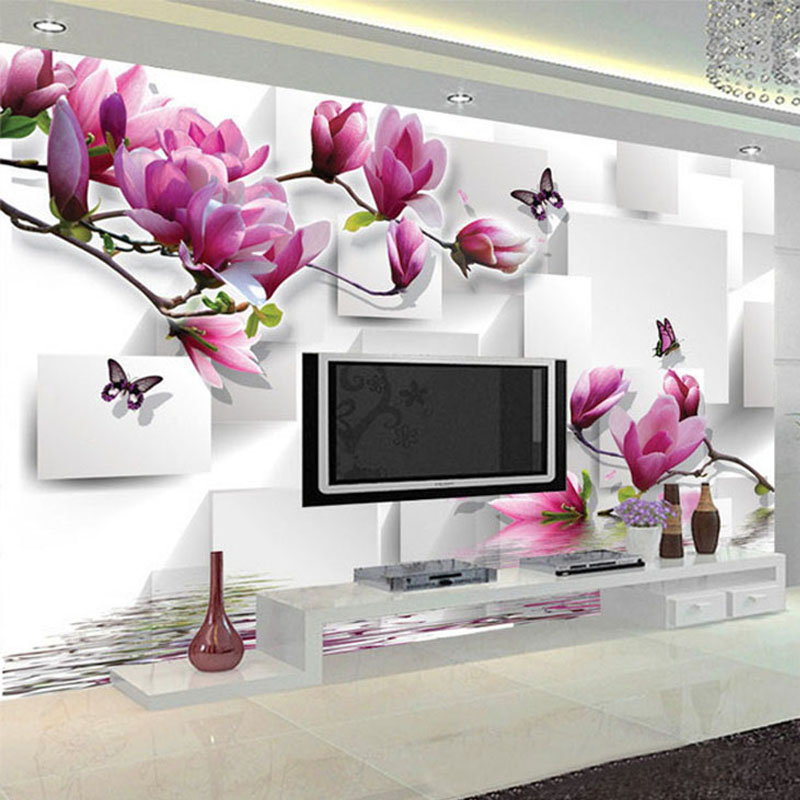 Fashionable Interior Design Photo Wallpaper 3D Stereo Square Orchid Reflection Aesthetic Mural Living Room TV Backdrop Wallpaper