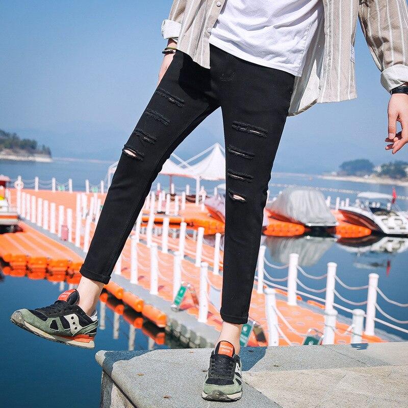 Now Summer Men Medium Waist Solid Color With Holes Capri Pants Casual Pants Korean-style Slim Fit Pants Jeans Men's
