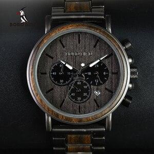 Image 1 - BOBO BIRD Wood Watch Men Stopwatch erkek kol saati Wooden Wristwatches Male Show Date Create Gift  saat erkek relogio masculino