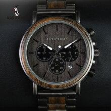Деревянные часы BOBO BIRD, мужские наручные часы с секундомером, мужские наручные часы с деревянным корпусом, мужские наручные часы с датой, созданием подарка, мужские часы
