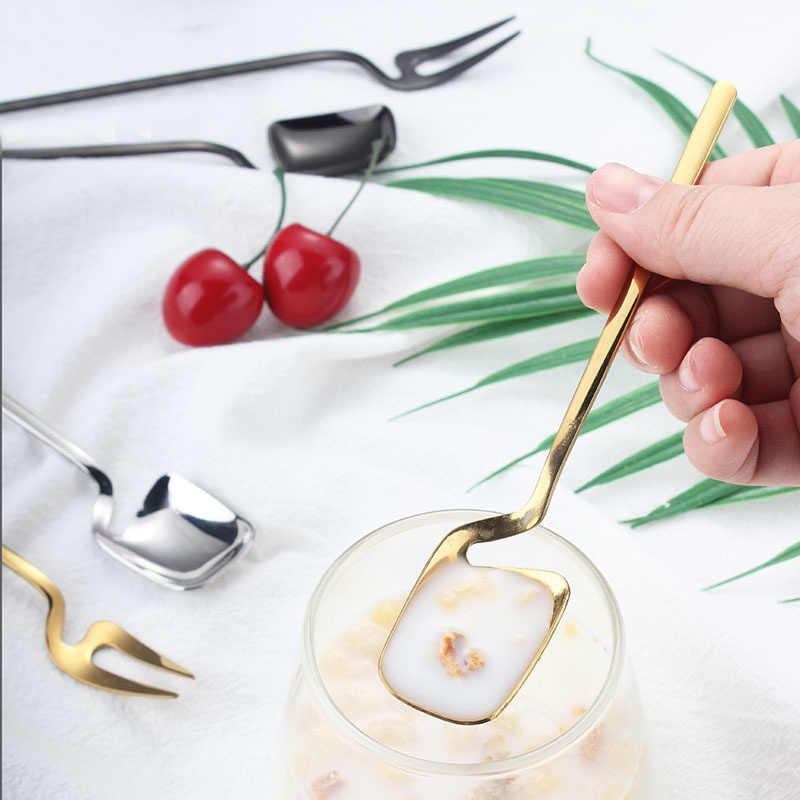 ステンレス鋼スプーンロングハンドルアイスクリームスクープ茶コーヒー混合スプーンデザートフルーツフォーク家庭の台所装飾的な食器