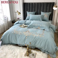 Luxury Bedding Sets Embroidery Cotton 60S Duvet Cover Set King Size Single Hotel Queen Full Pink Comforter Bed Linens Cotton