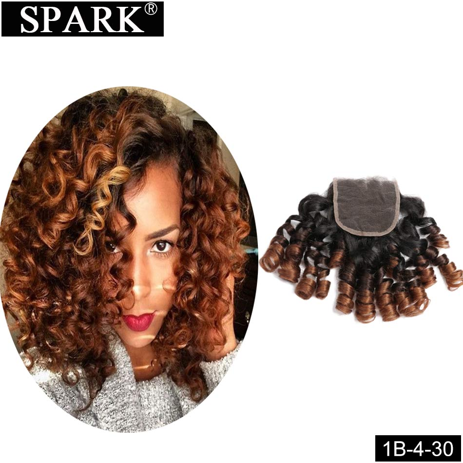 Spark Ombre Brazilian Bouncy Curly Human Hair Lace Closure Natural Color Remy Hair Extensions Bundles With Closure 1B/30 Color
