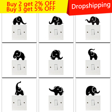Cartoon DIY Funny Cute Little elephant Switch Sticker Wall for Kid Room Decor Home Decoration Bedroom Parlor