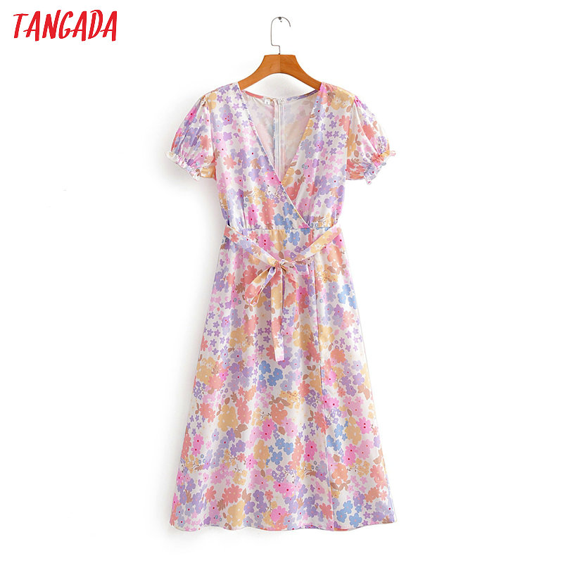 Tangada Women Floral Print Midi Dress With Slash V Neck Short Sleeve 2020 Summer Females Sundress SY90