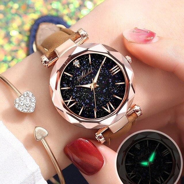 Fashion Roman Scale Watch Women's Quartz Diamond Wristwatch Stars Little Point Frosted Belt Watch Men and Women Casual Watch 3