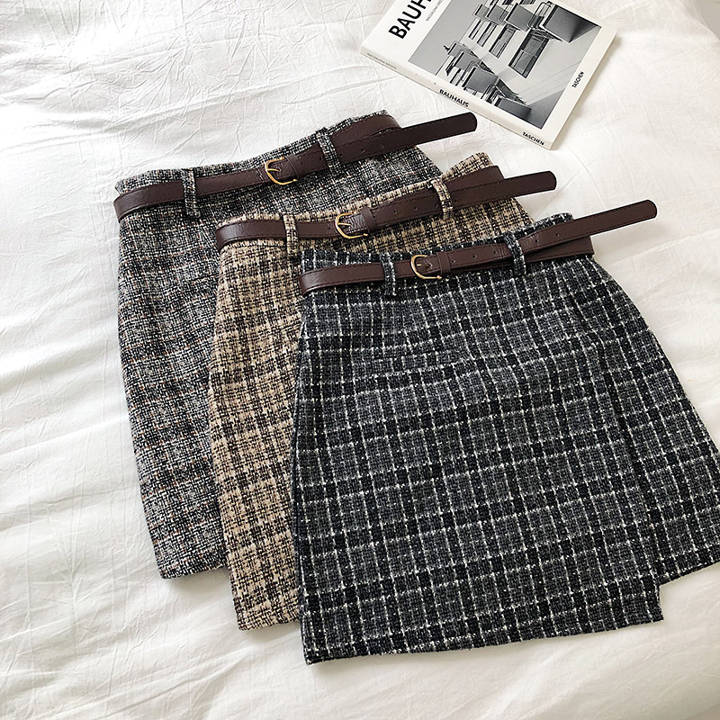 Vintage Women Plaid High Waist Mini Skirt 4