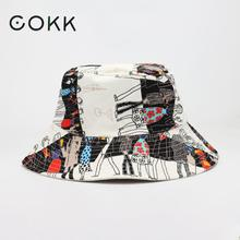 Bucket-Hat Fisherman-Hat Flat-Top Hip-Hop-Graffiti Cool Korean Double-Sided Fashion Women
