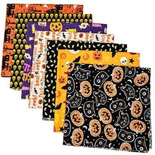 DIY homeHand Stitched Children's Cotton Printed Halloween Pumpkin Handkerchief 7pcs telas algodon estampadas tissus au mtre(China)
