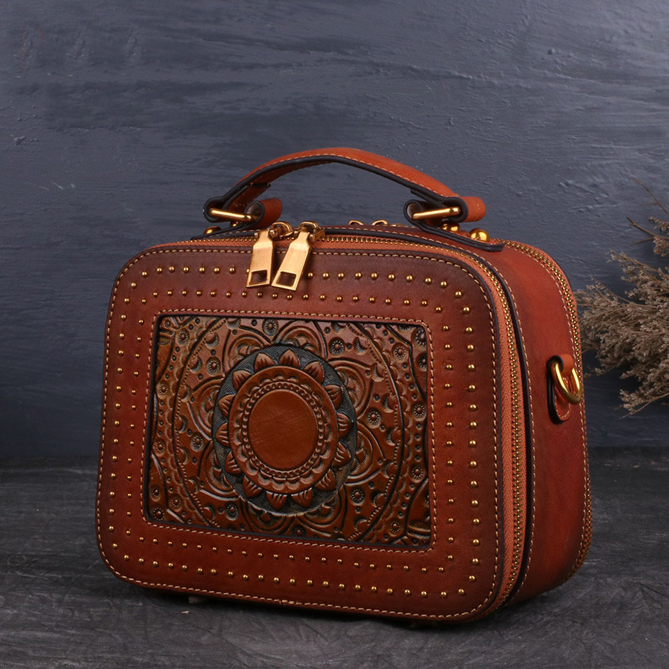 Luxury Handbags Women Bags Designer Cow Leather Crossbody Shoulder Bags For Women 2020 Vintage Rivet Messenger Bags Female Tote
