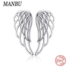 Genuine 925 Sterling Silver Feather Fairy Wings Stud Earrings with Clear CZ for Women Fashion Jewelry 2019 product