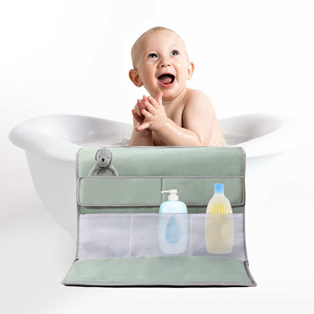 Bath Kneeler With Elbow Rest Bathtub Kneeling Mat With Toy Organizer Foldable Child Bath Tub Pad For Parents Knee Arm Support