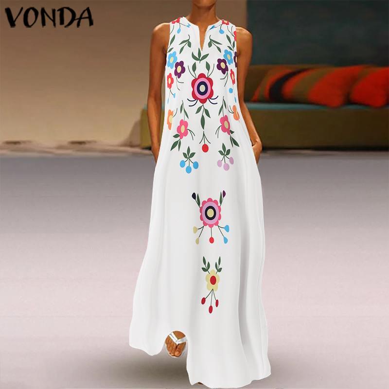 2019 VONDA Summer Long Maternity Dress Sexy V Neck Sleeveless Print Vestidos Bohemian Party Robe Femme Beach Party Sundress