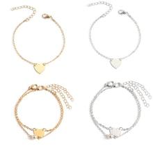 4 Pcs/ Set Fashion Love Heart Pearl Layered Chain Bracelets for Women Simple Alloy Charm Bracelet Hand Accessories все цены