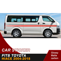 2 PC cool line decal gradient side door stripe racing graphic Vinyl car sticker for hiace 2004 2018