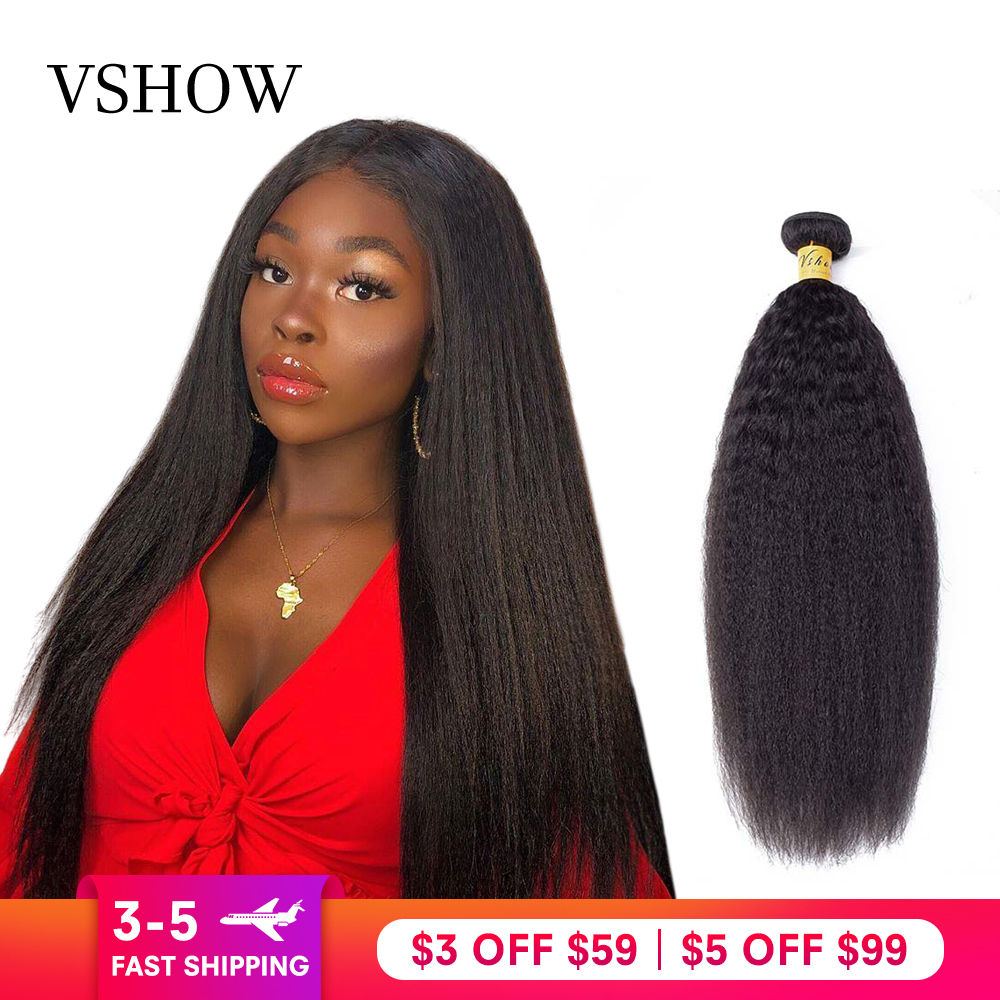 Yaki Straight Hair Bundles VSHOW Indian Human Hair Weave Bundles 1/3/4 Bundles Kinky Straight 100% Remy Hair Extension