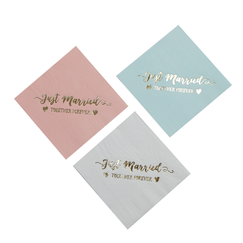 Personalized Just Married Wedding Napkins(16pcs)Rehearsal Dinner Engagement Party Custom Bar Napkins Pink Blue Fol Gold Color