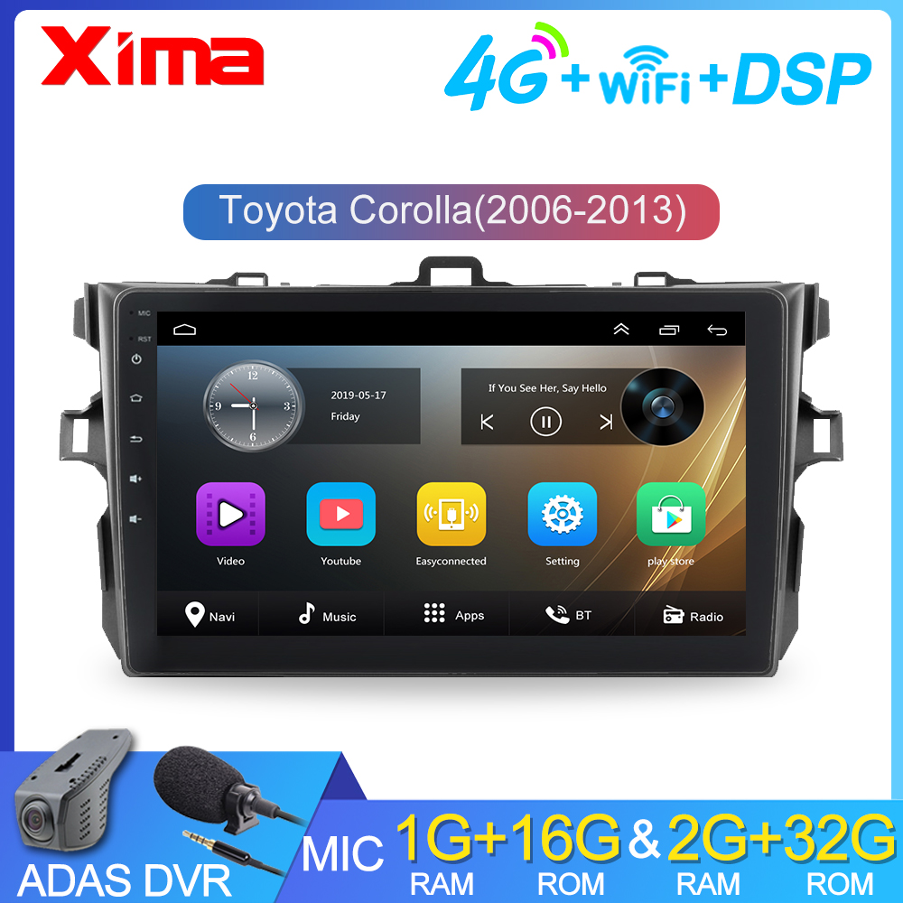 RAM 2G android 8.1 2Din Car Radio Multimedia Player For Toyota Corolla E140/150 2007 2008 2009 2010 2011 2012 2013 with car dvr image