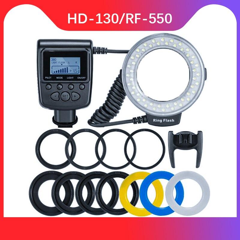 RF-550D 48 пары брюк для маленьких макро светодиодная кольцевая лампа-Комплект mit 8 переходными кольцами für цифровой зеркальной камеры Canon Nikon ...