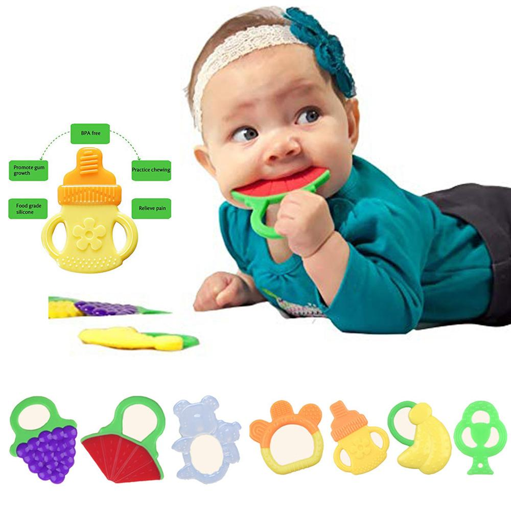 Baby Silicone Teethers BPA Free Teething Toy Fruit Grape Watermelon Banana Baby Ring Teether Silicone Beads DIY Chain