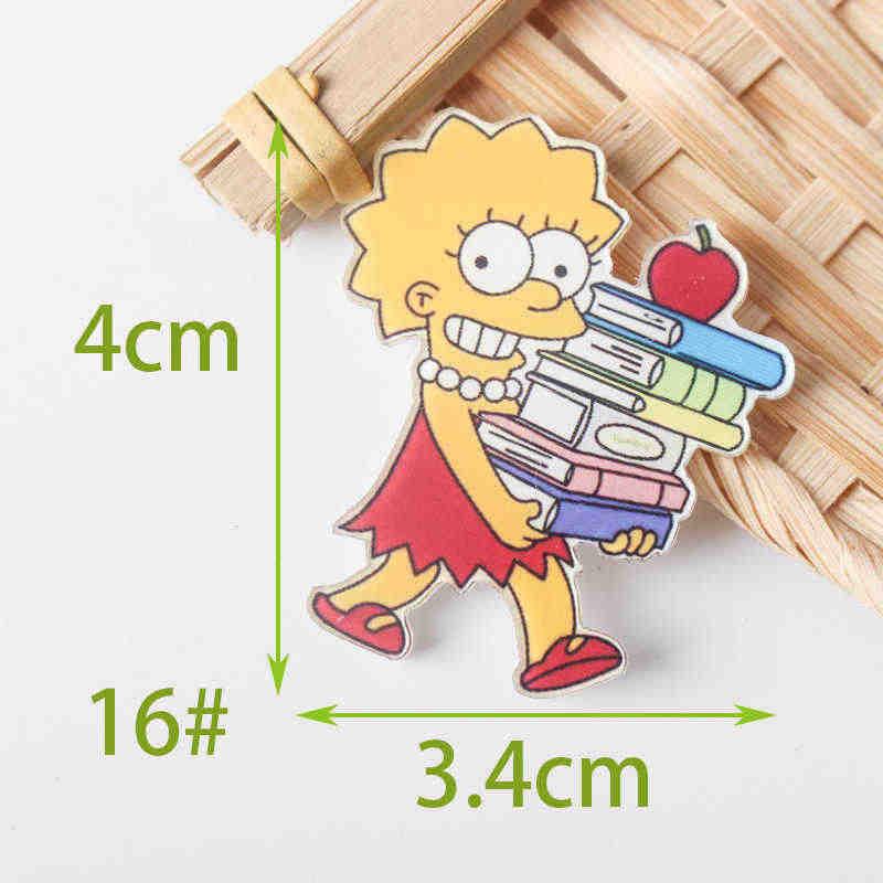 1 Pcs Campuran Simpsons Kartun Ikon Pada Pin Kawaii Ikon Lencana Bacges Di Ransel Lencana untuk Pakaian Akrilik lencana Z77