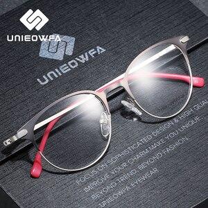 Image 3 - Liga de titânio retro óculos redondos quadro de prescrição óptica armação de óculos mulher clara miopia vintage óculos quadro