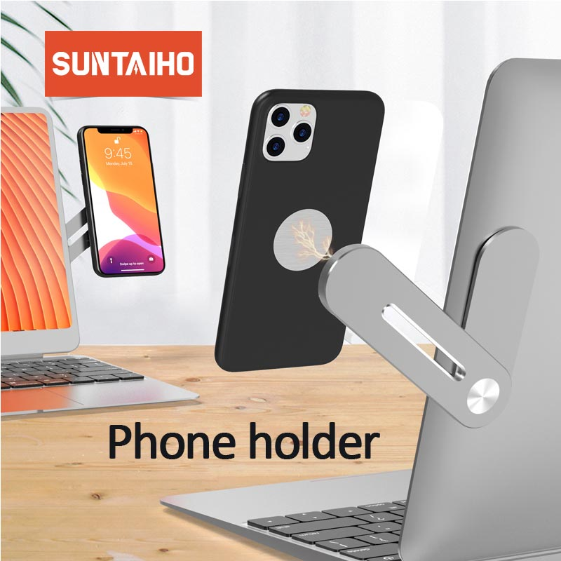 Universal Magnetic Phone Holder Aluminum Alloy Metal Multifunctional Notebook Expansion Stand Holder For IPhone 11 Pro Xs Max X