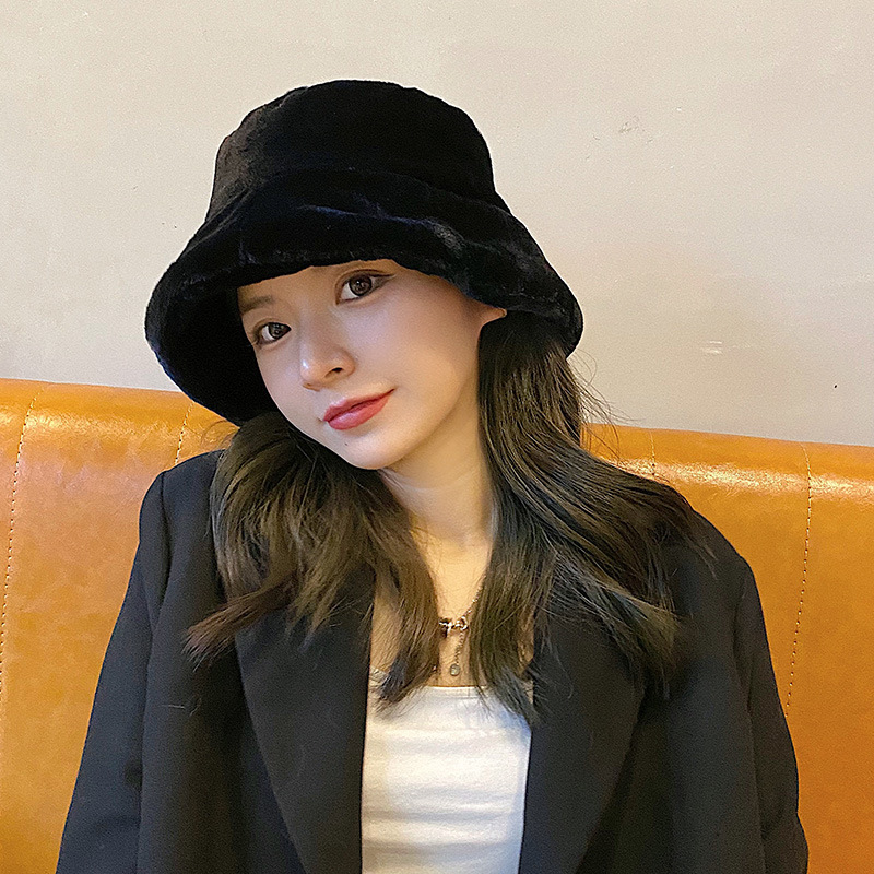 Fashion Faux Fur Winter Bucket Hat For Women Girl Solid Thickened Soft Warm Fishing Cap Outdoor Vacation Hat Cap Lady