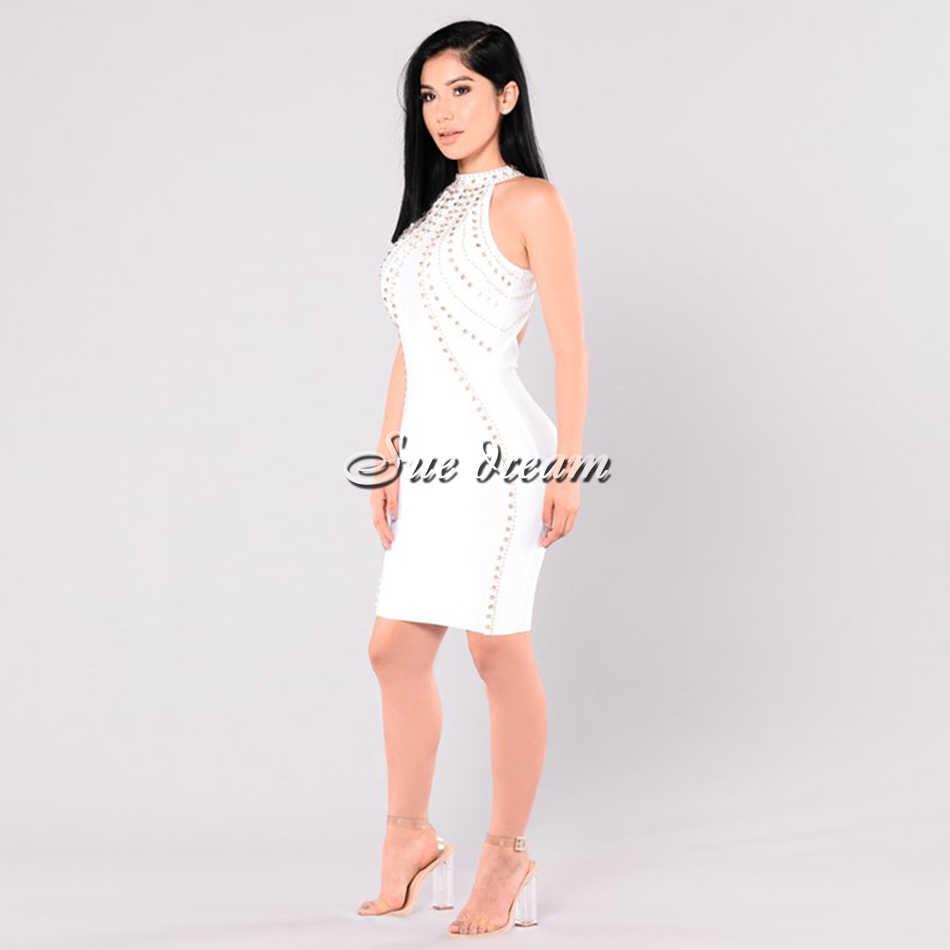2019 Новинка осени Для женщин без рукавов платье с закрытым воротом платье Сексуальная Bodyon алмаз Знаменитости Вечерние Грейс черный, белый цвет платья Vestidos