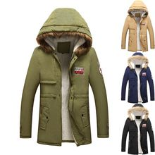 Cotton Man In Autumn and Winter Lovers Casual Coat Men Medium Long Wool Collar Thickened CottonCoat Mens