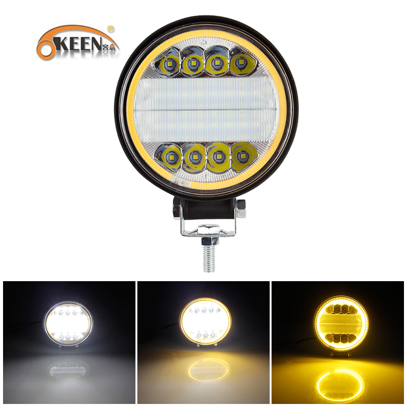 OKEEN 126W LED Work Light 12V 24V Dual Color Combo Beam Led Bar For 4x4 Offroad ATV Truck Tractor Auto Driving Fog Lights
