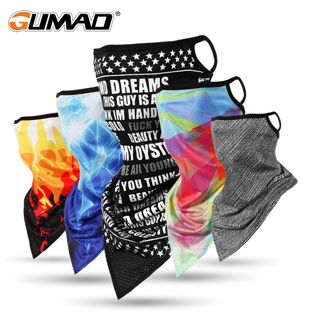 Sports Bandana Ice Silk Hang Ear Triangle Face Mask Tube Scarf Neck Gaiter Cover Fishing Headband Running Hiking Men Women New