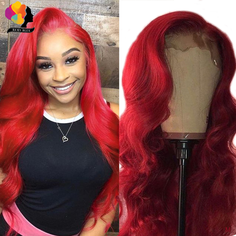 Remyblue Body Wave Wig 13*4 Red Burgundy 150 Density Lace Front Human Hair Wig For Women Colored Peruvian Remy Human Hair Wigs