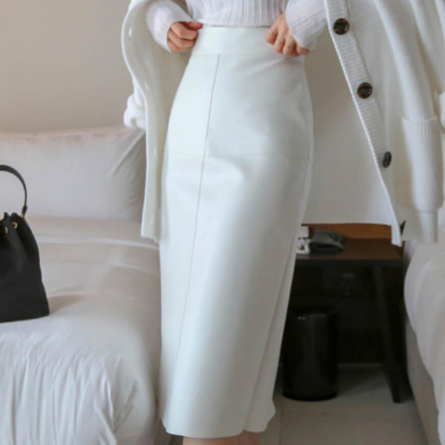 2020 Spring Autumn Ol Elegant Pu Pencil Skirt Women White High Waist Package Hip Step Skirt