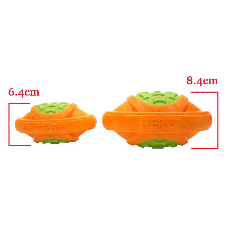 CAITEC Dog Toys Football for Dogs Floatable Squeaky Hard and Firm Fit for Outdoor Throwing Suitable for Medium to Large Dogs