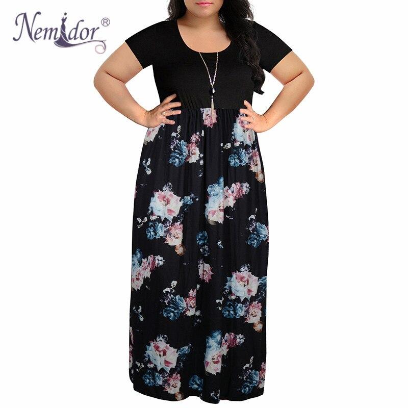 US $23.75 12% OFF|Nemidor 2019 Women O neck Short Sleeve Patchwork Casual  Dress Plus Size 7XL 8XL 9XL Vintage Chevron Print Loose Long Maxi Dress-in  ...