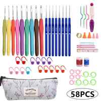 Conjunto de ganchos de ganchillo, mangos blandos, Kit de agujas de tejer, estuche para manualidades de costura, juego de Agulha de ganchillo, Utensilios de costura, 58 Uds.