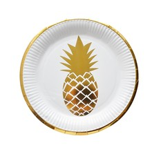 8pcs/set Hawaii decoration Pineapple paper Plates dishes Fruit plate Wedding Birthday Party Tableware Supply a set friction plates paper based plate