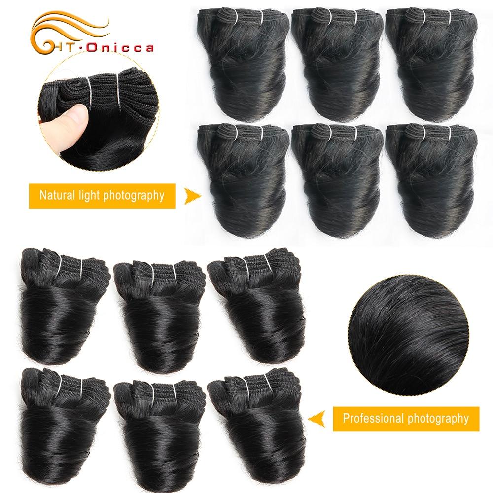 6 Pcs/Lot Funmi Hair Double Drawn Brazilian Hair Weave Bundles Romance Curl 8 Inch Human Hair Bundles For Black Women