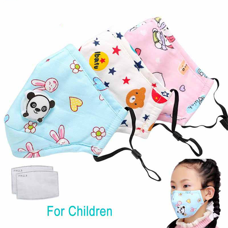 1Pcs PM2.5 Children Mouth Kids Mask Respiratory Valve Cartoon Panda Thicken Smog Mask Warm Dust Mask Fits 2-10 Years Old Kids