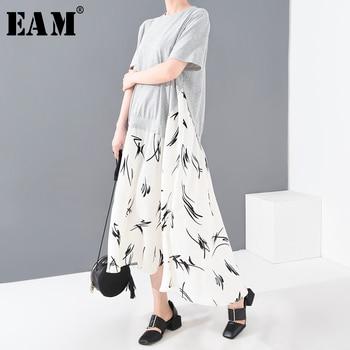[EAM] Women Gray Hem Pattern Printed Long Big Size Dress New Round Neck Short Sleeve Loose Fashion Spring Summer 2020 1T21302