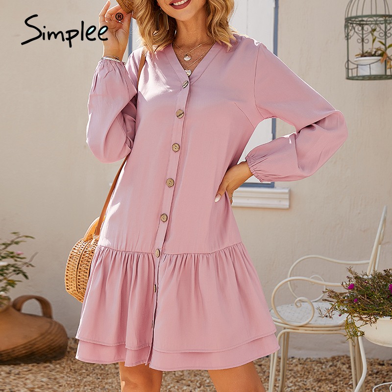 Simplee Casual Solid Women Dress Puff Sleeve V-neck Buttons Ruffled Summer Dress Loose Ladies Work Wear Holiday Office Dress