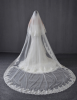 5 M Two Tiers Sequin Lace Cathedral Wedding Bridal Veils White Ivory Bridal Cathedral Veils Super Long With Comb