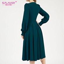 S.FLAVOR Women VIntage Solid Color Autumn Dress Elegant Green Long Sleeve Pleated Midi Vestidos 2020 Winter Women Casual Dresses