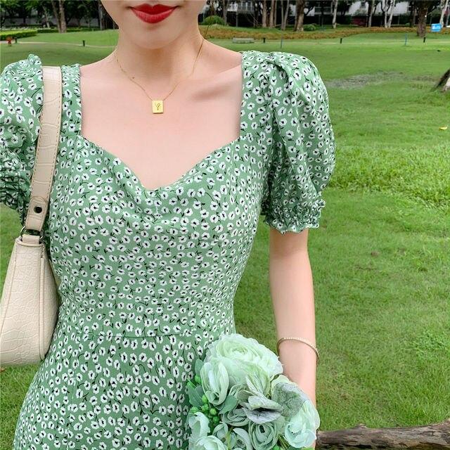 Summer_Floral_Dress_Women_French_Style_Puff_Sleeve_Chiffon_Split_Fairy_Dress_Sexy_Elegant_Korean_Sty 3