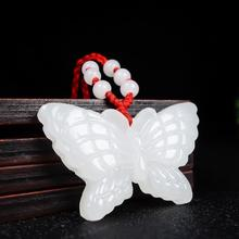 Pendant Necklace Charm Fashion-Accessories White Jade Butterfly Natural Jewelry Amulet