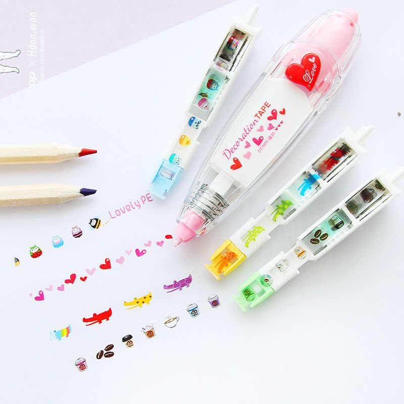 1 set =(1 tape + 3 pengganti) masking tape kawaii stationery untuk siswa sekolah DIY Scrapbooking Stiker