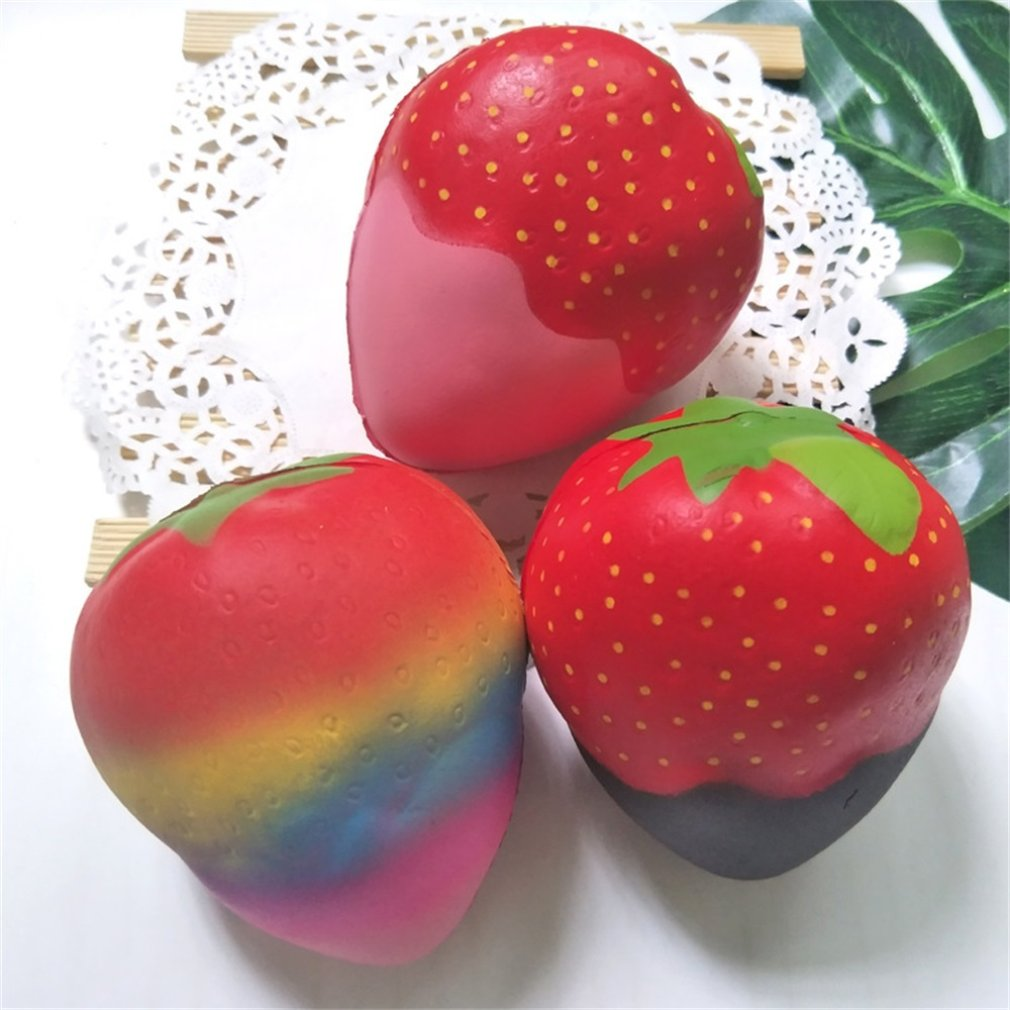 Novelty Cute Adorable Strawberry Mochi Squishy Squeeze Toy Fashion Casual Healing Toys Fun Kids Stress Reliever Toy