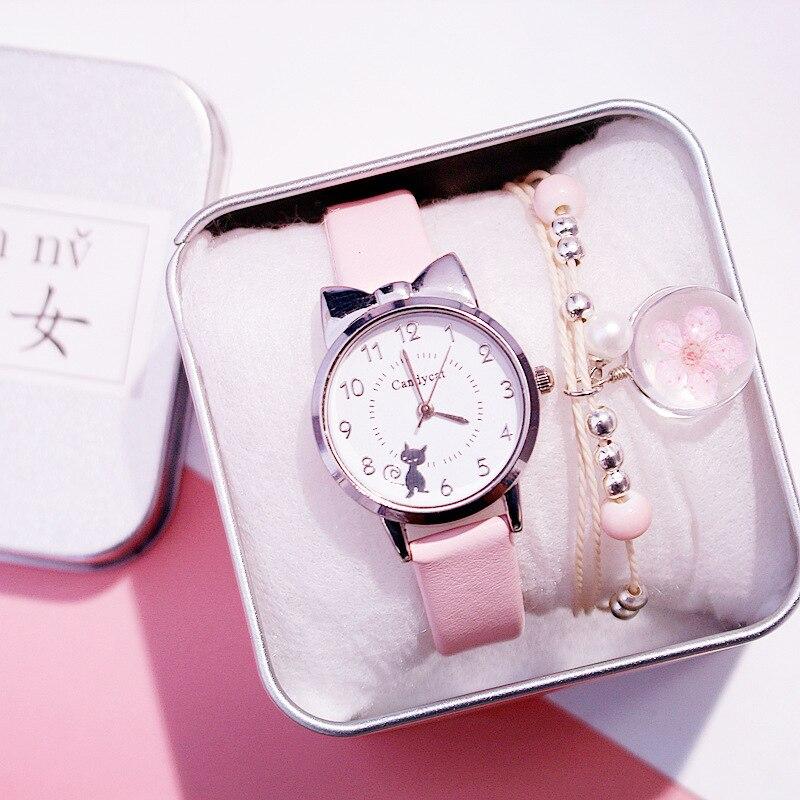 Часы наручные Детские кварцевые, для студентов, розовые, с чёрной кошкой, подарок для девочек